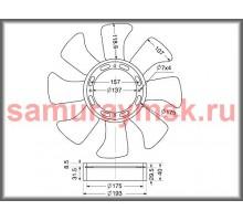 Вентилятор охлаждения радиатора ISUZU (NQR75/4HK1)4HF1 4BD1 (430/8)